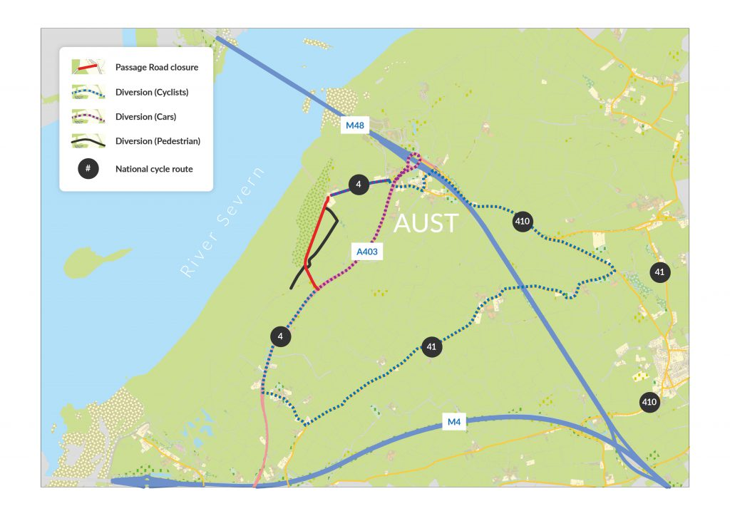 Map illustrating closure of part of Passage Road during flood defence scheme